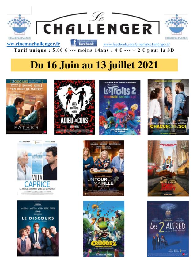 Programme du 16 juin au 13 juillet 2021