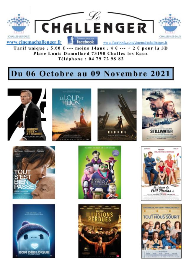 Programme du 06 octobre au 09 novembre 2021
